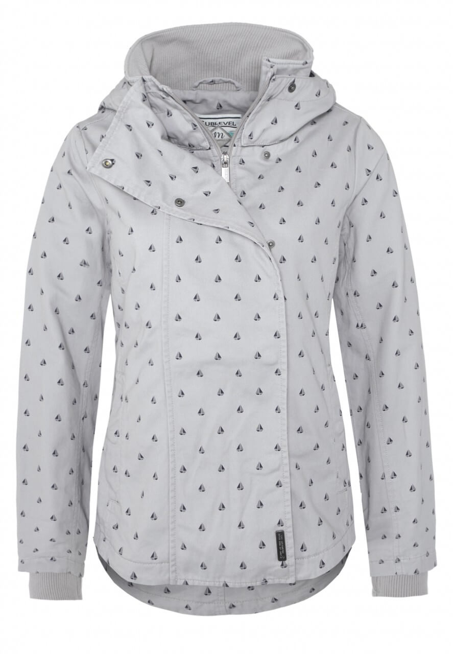 Hell-Graue Jacke mit Muster-Print