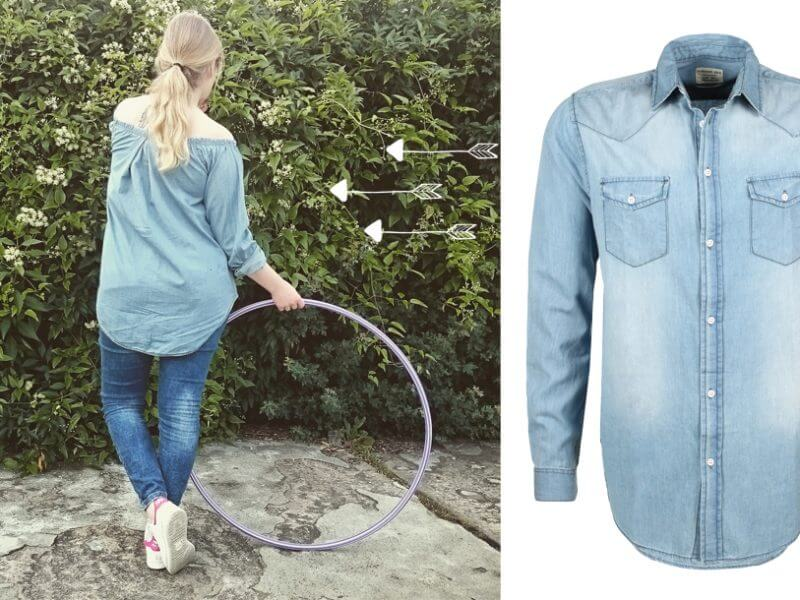 DIY Off-Shoulder Bluse Jeans