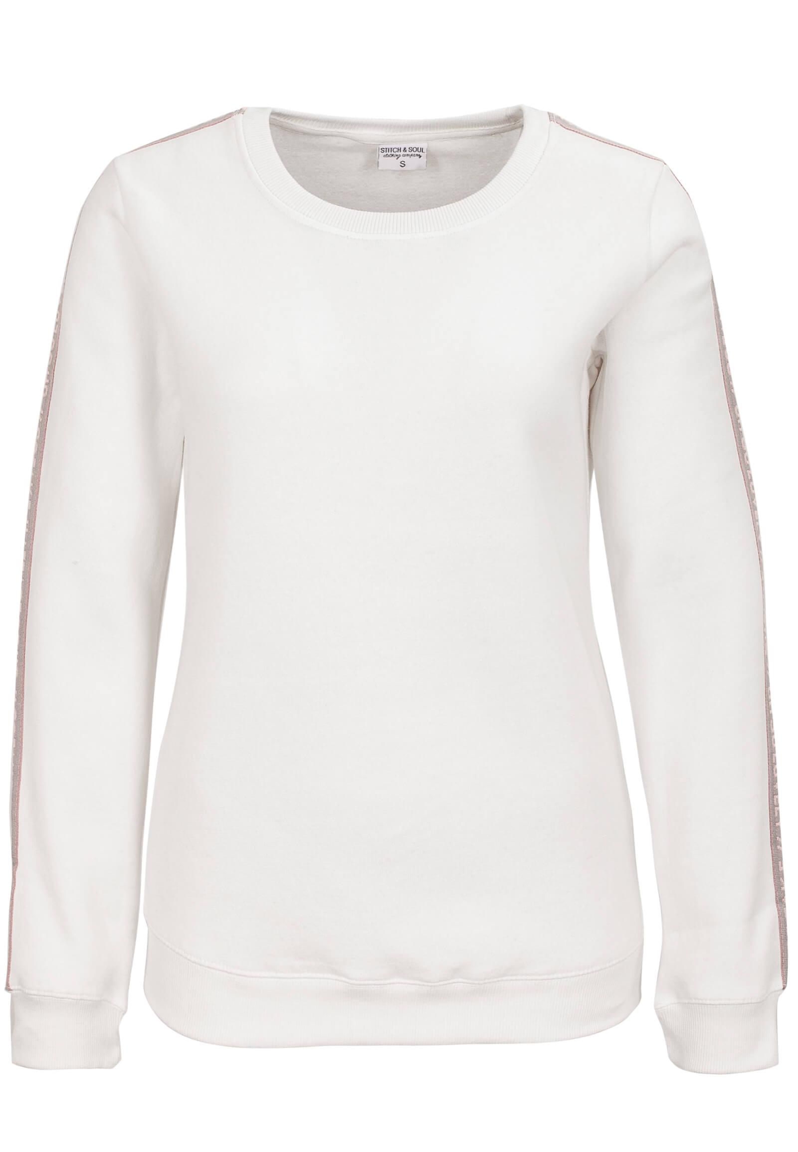 Weißer Pullover mit Deko-Band