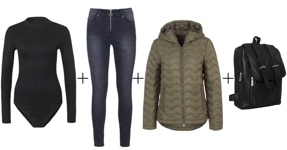 Schwarzen Body mit Jeans kombinieren