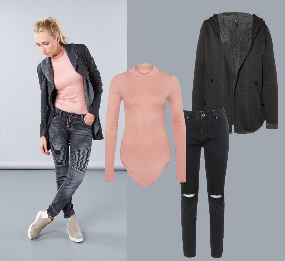 Rosa Body mit Jeans