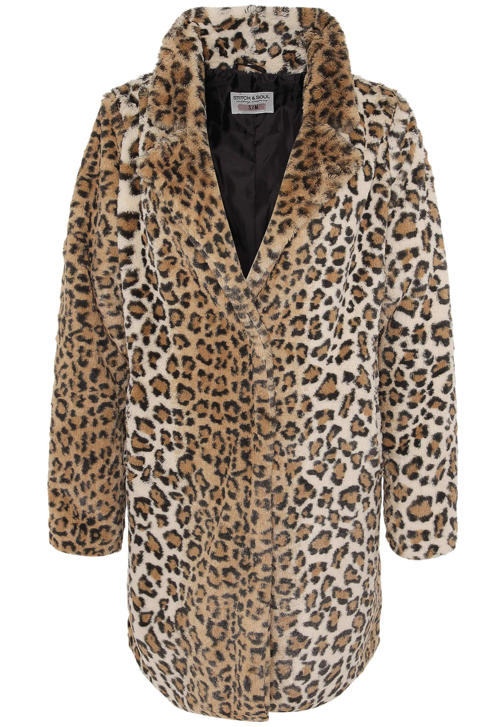 Pelz-Mantel mit Leoparden Muster