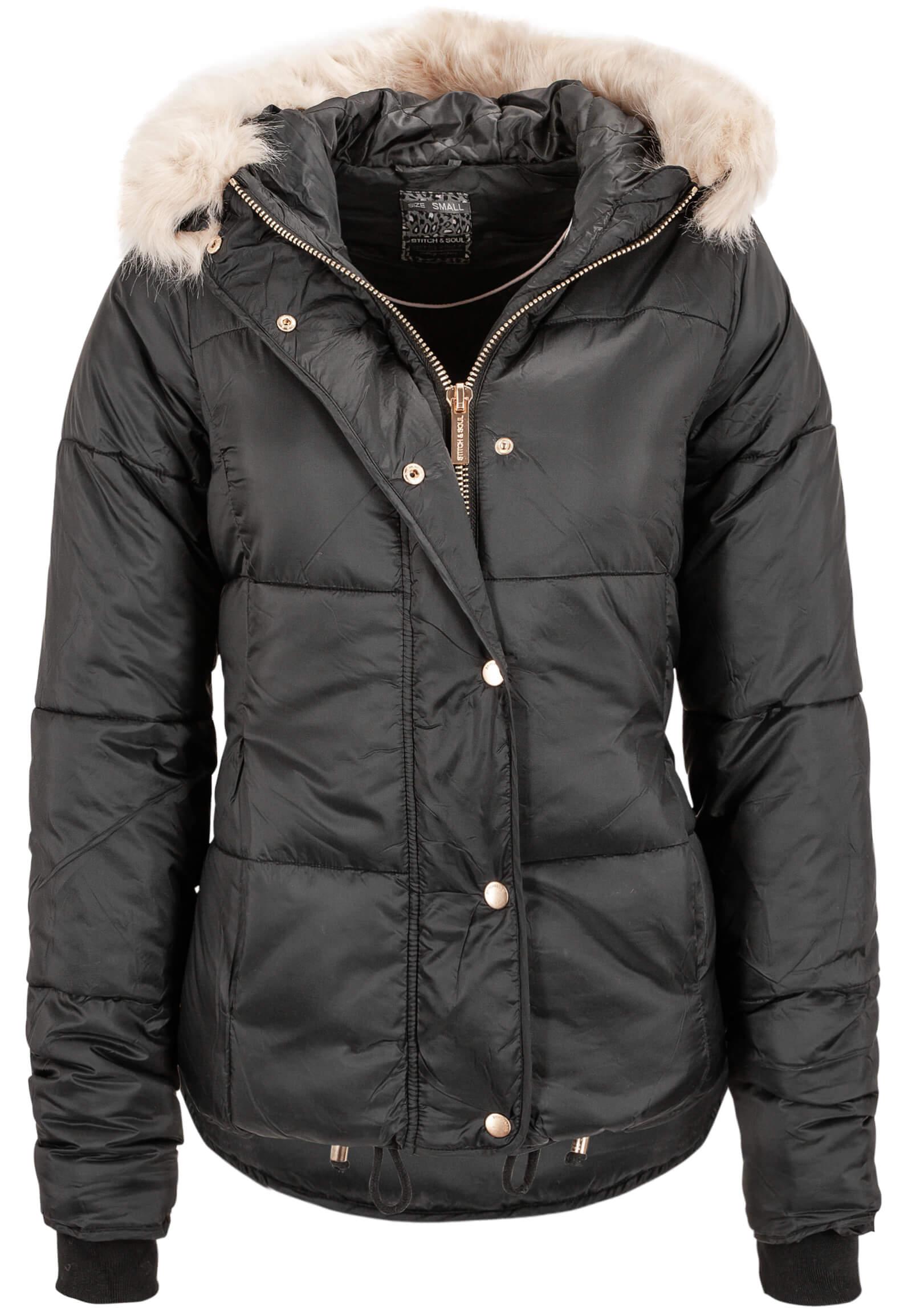 Schwarze Damen Jacke mit Fellkapuze