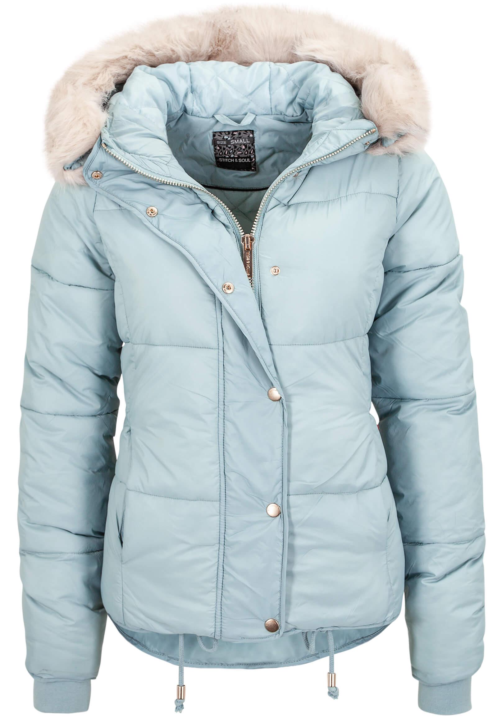 Hellblaue Damen Jacke mit Fellkapuze