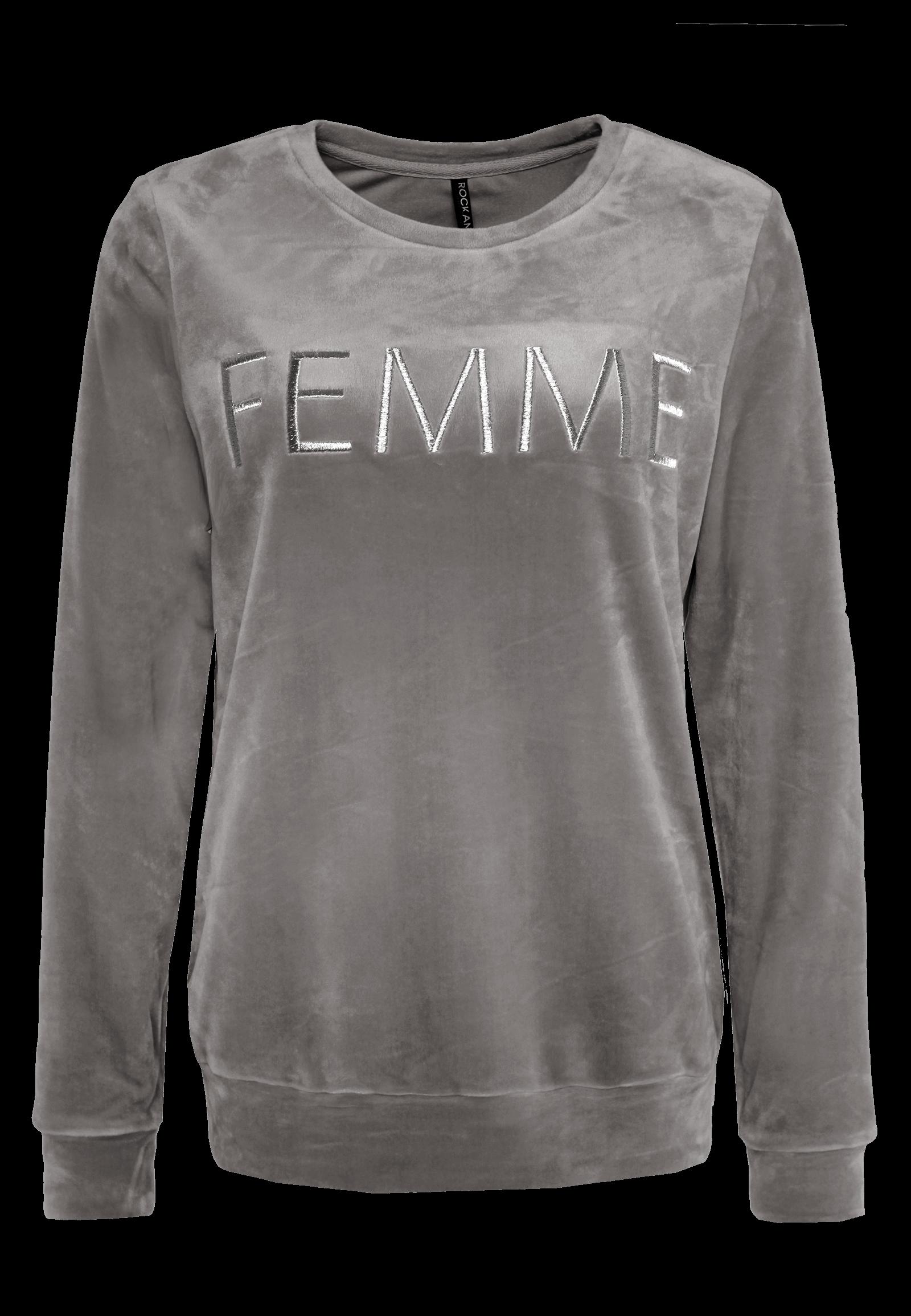 """Grauer Nicki Pullover """"Femme"""""""