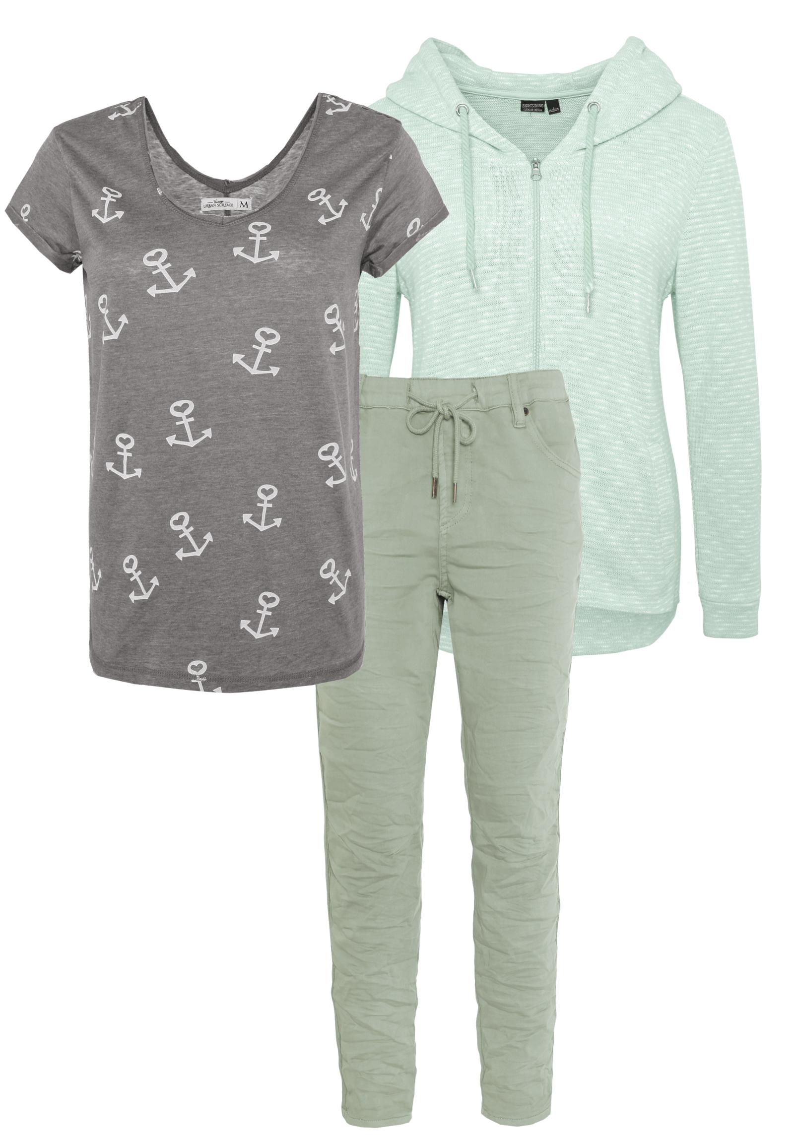 Outfit Grün und Grau