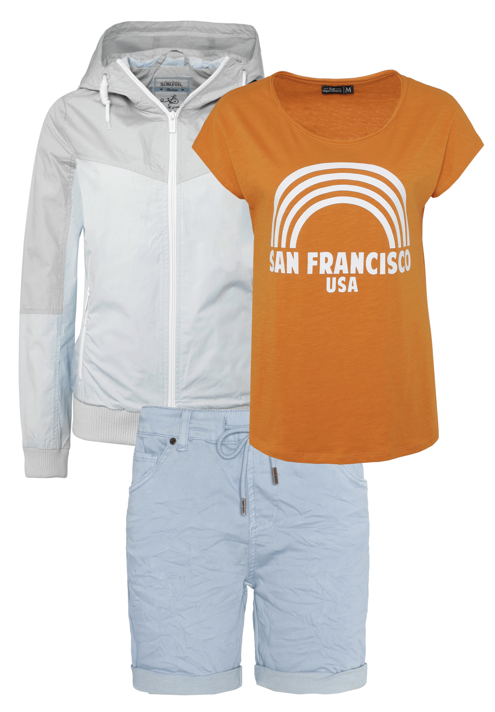Outfit Hell-Blau mit Orange
