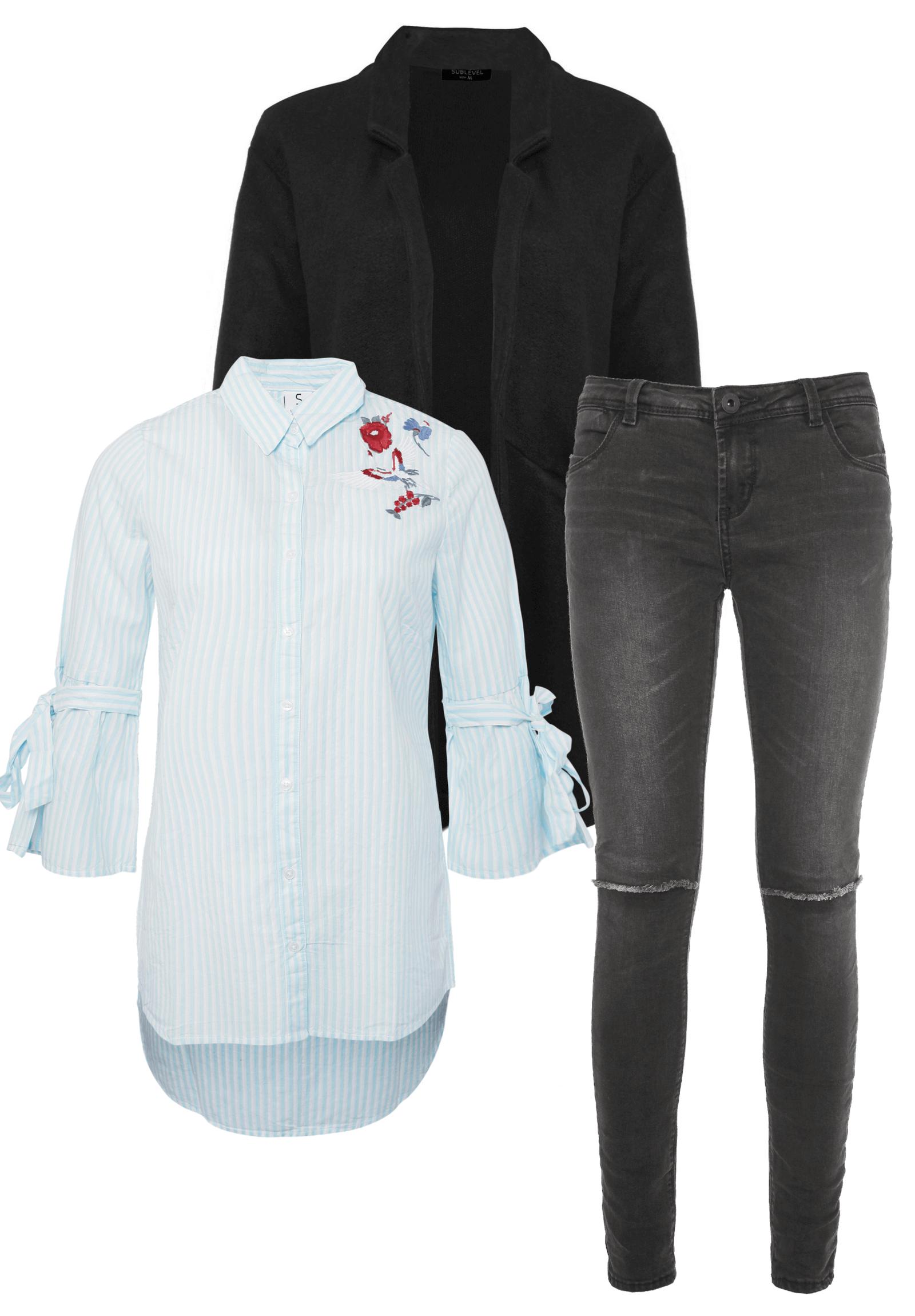 Outfit Hell-Blau mit Schwarz