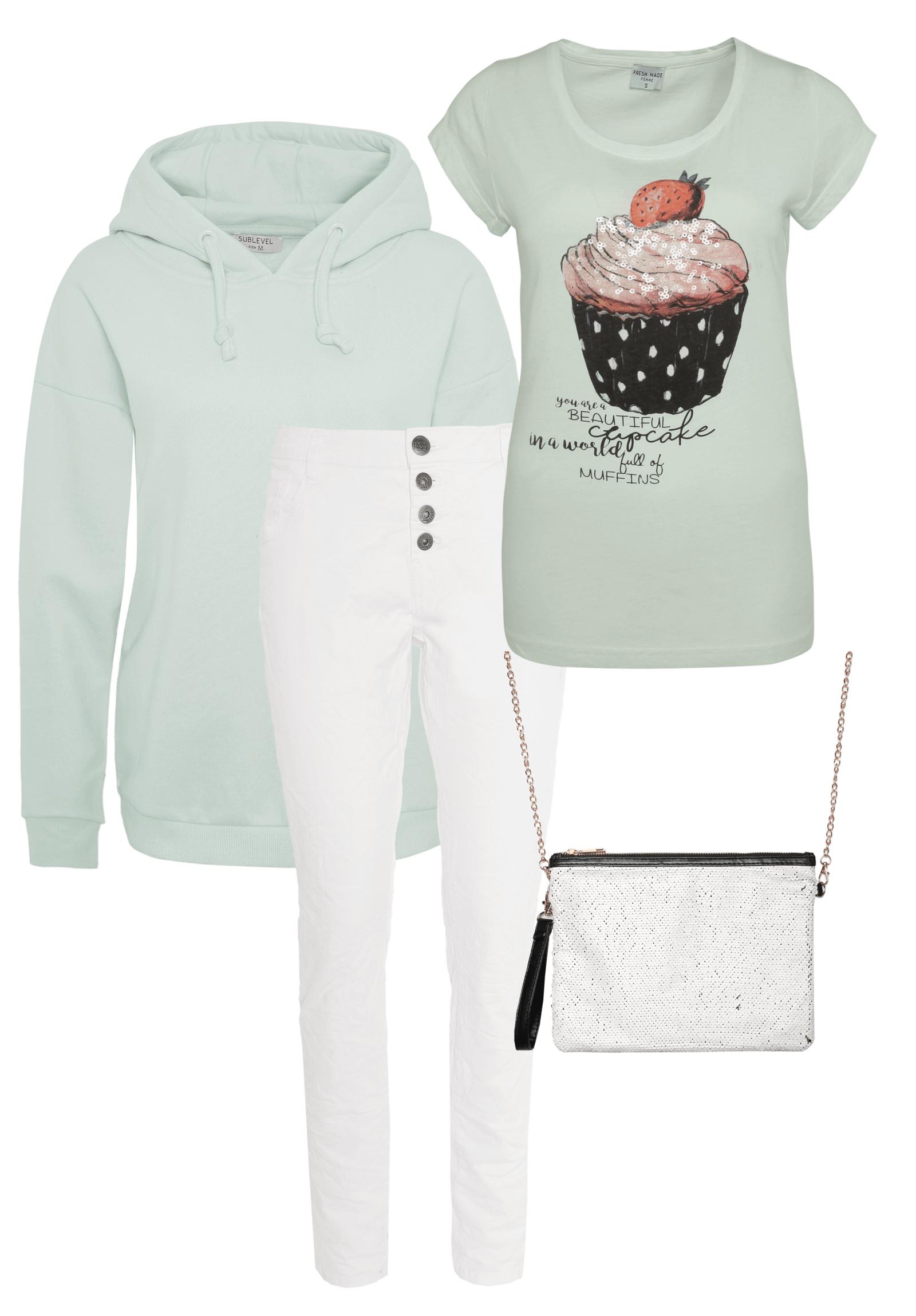 Outfit Grün mit Weiß