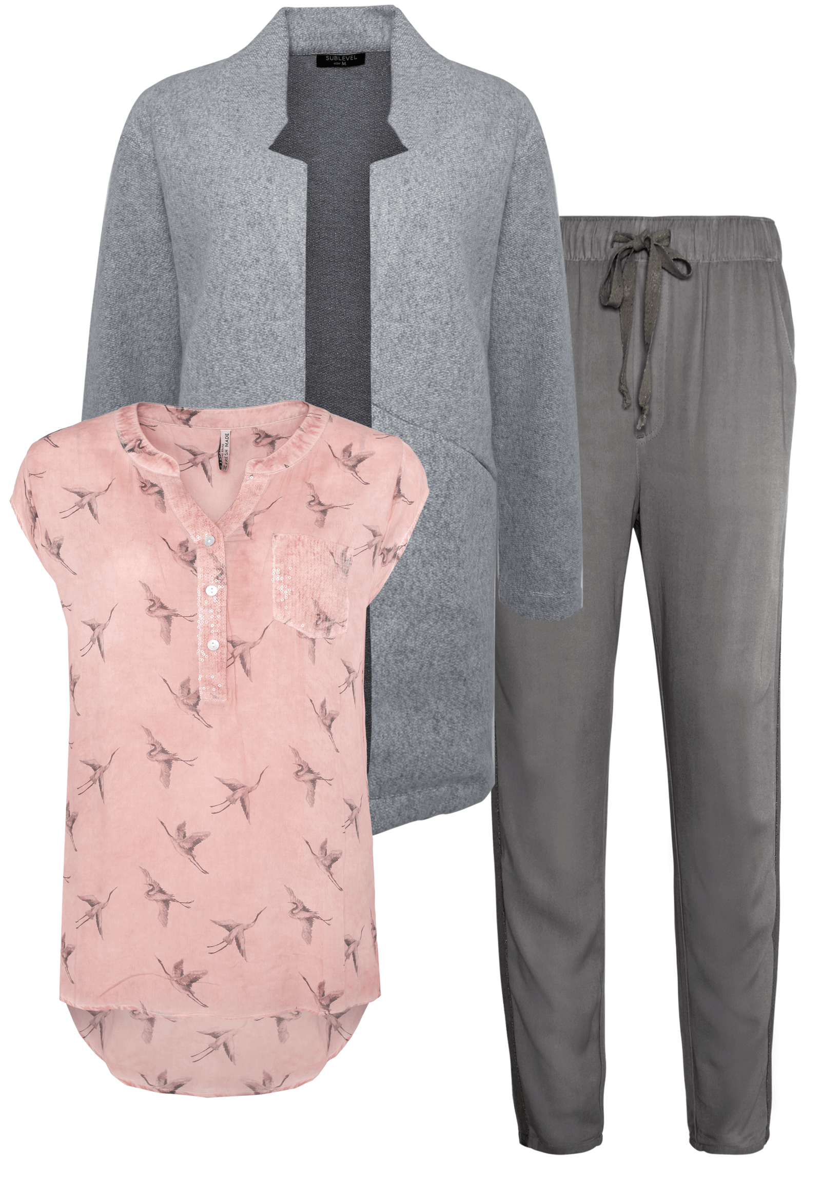 Outfit Rosa mit Grau
