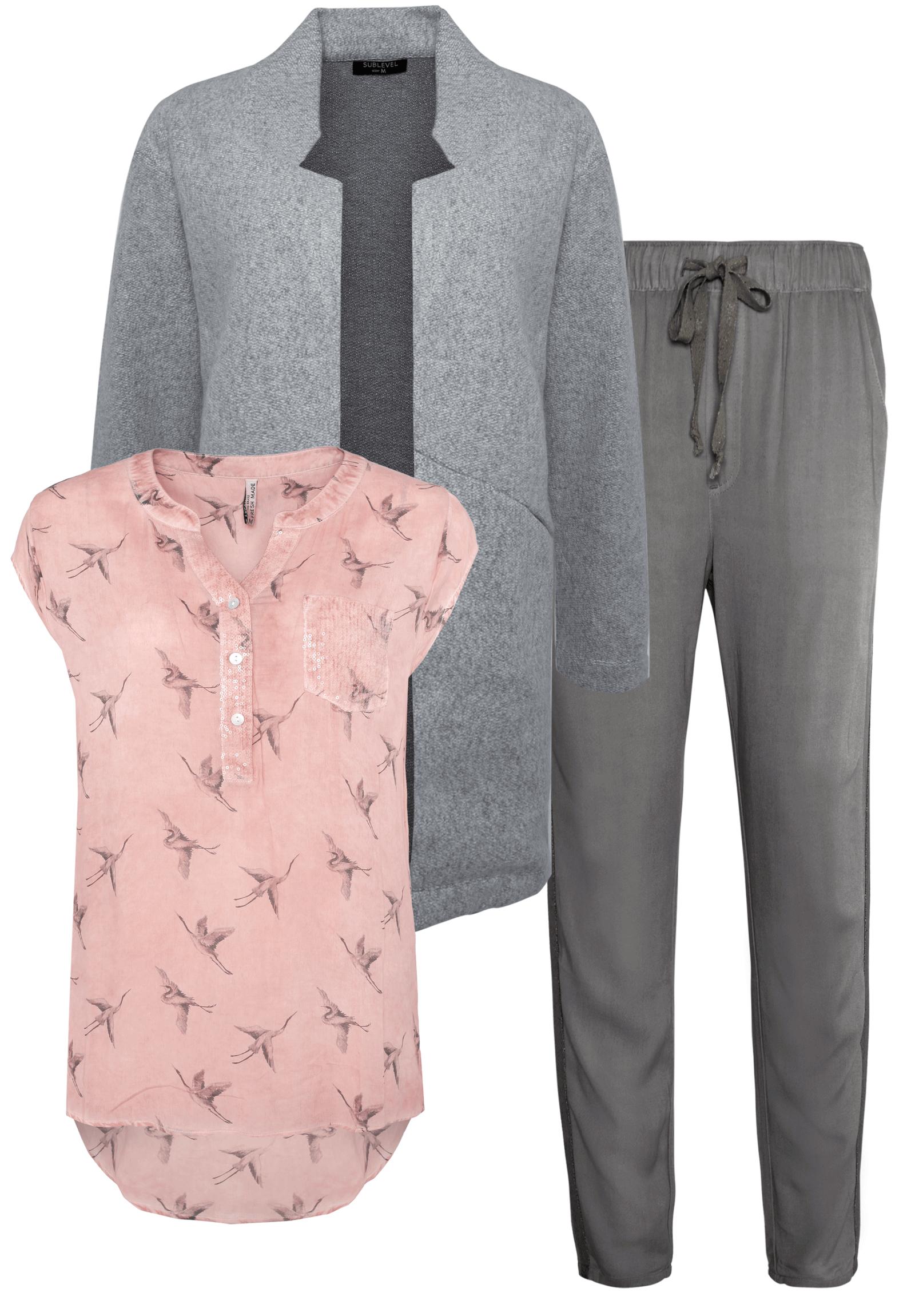 Outfit Rosa mit Grau