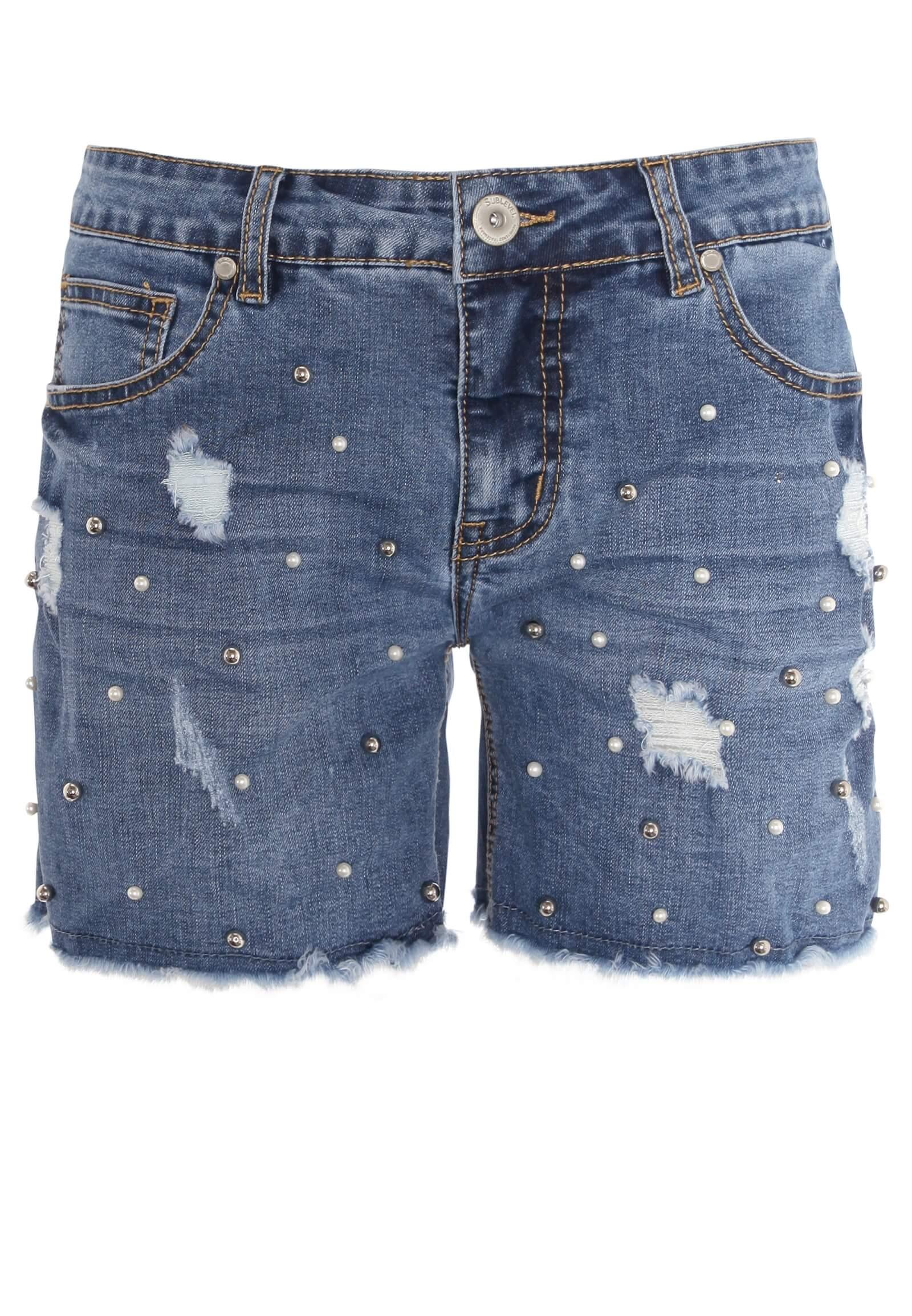 Jeans-Shorts mit Perlen