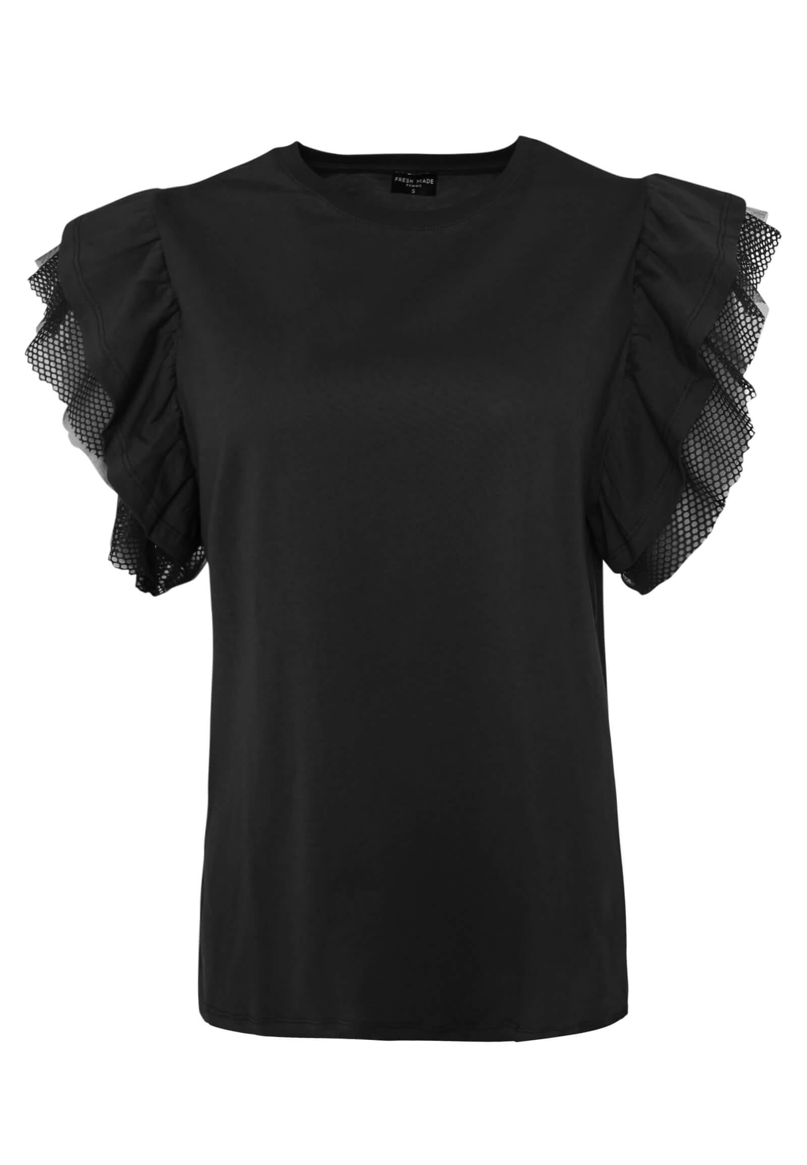 Schwarzes Shirt mit Volant-Ärmeln