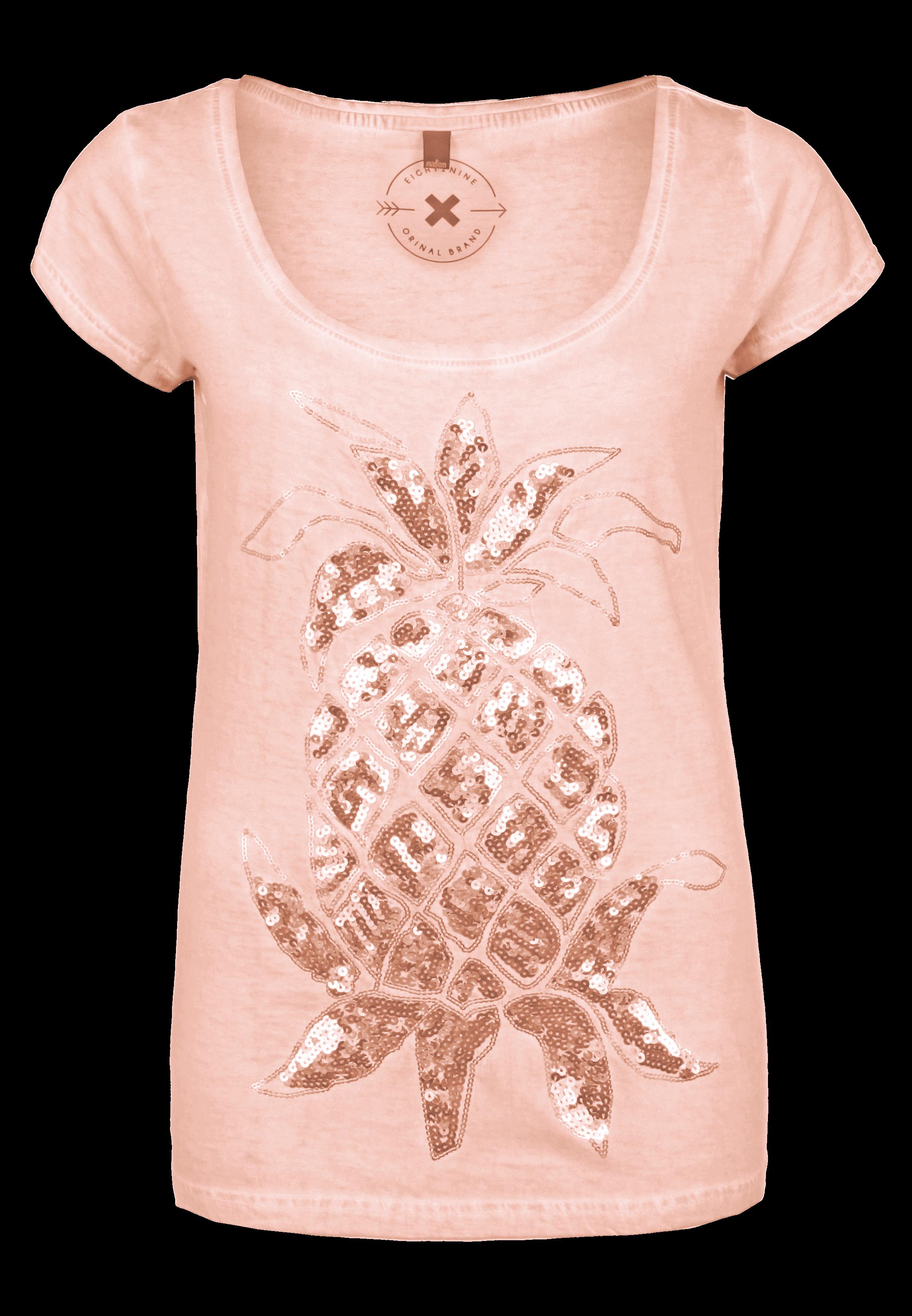 Rosa T-Shirt mit Pailletten Ananas