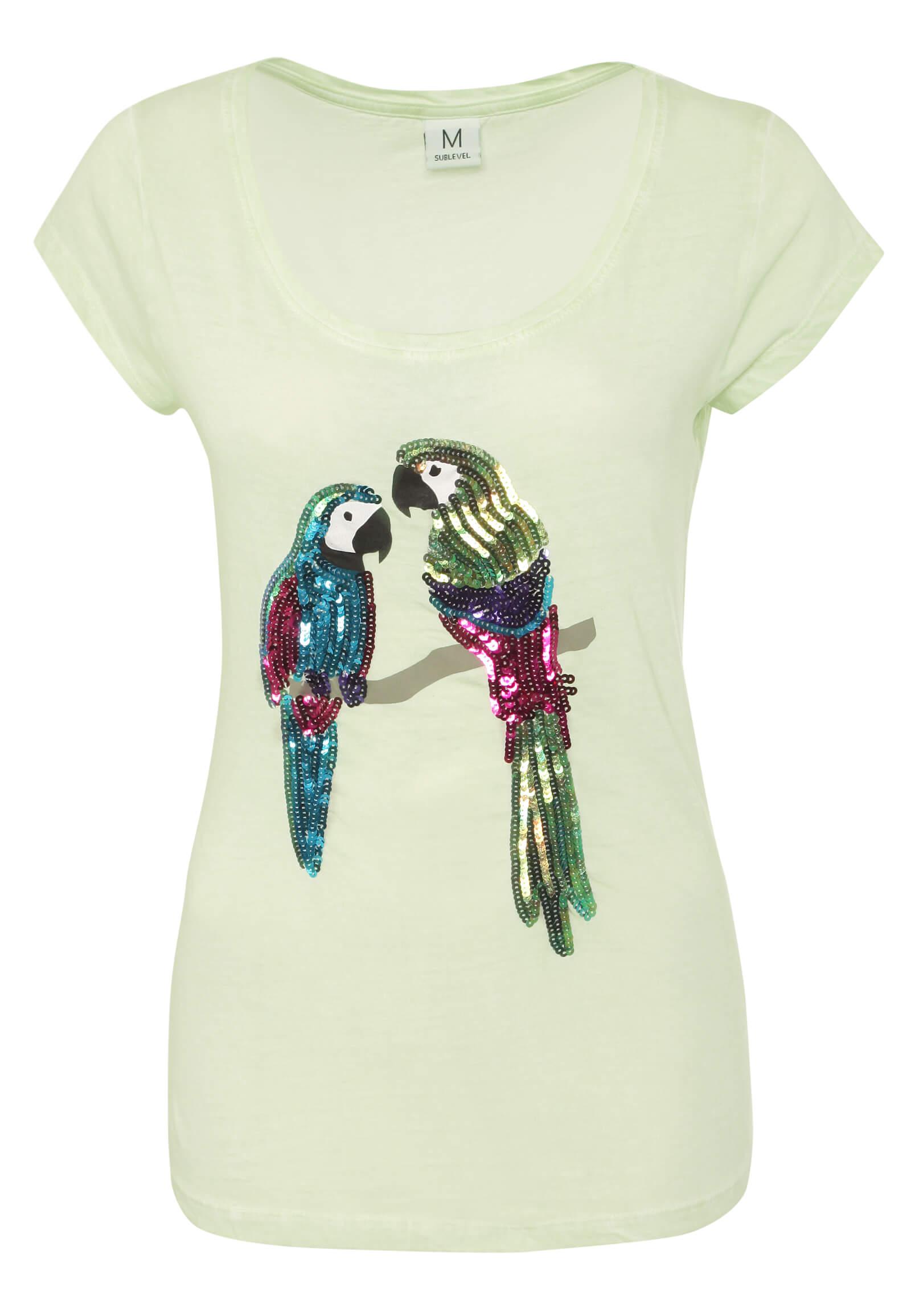 T-Shirt mit Pailletten Papagei