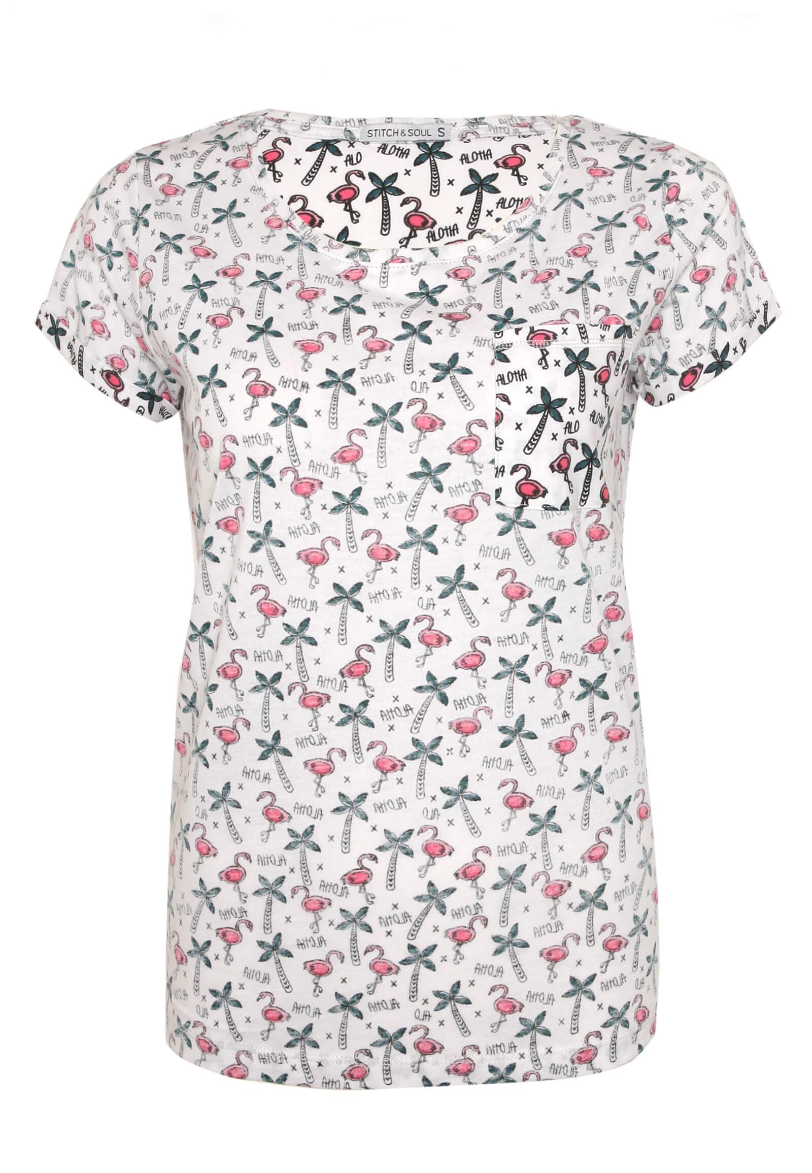 T-Shirt mit Palmen Allover-Druck