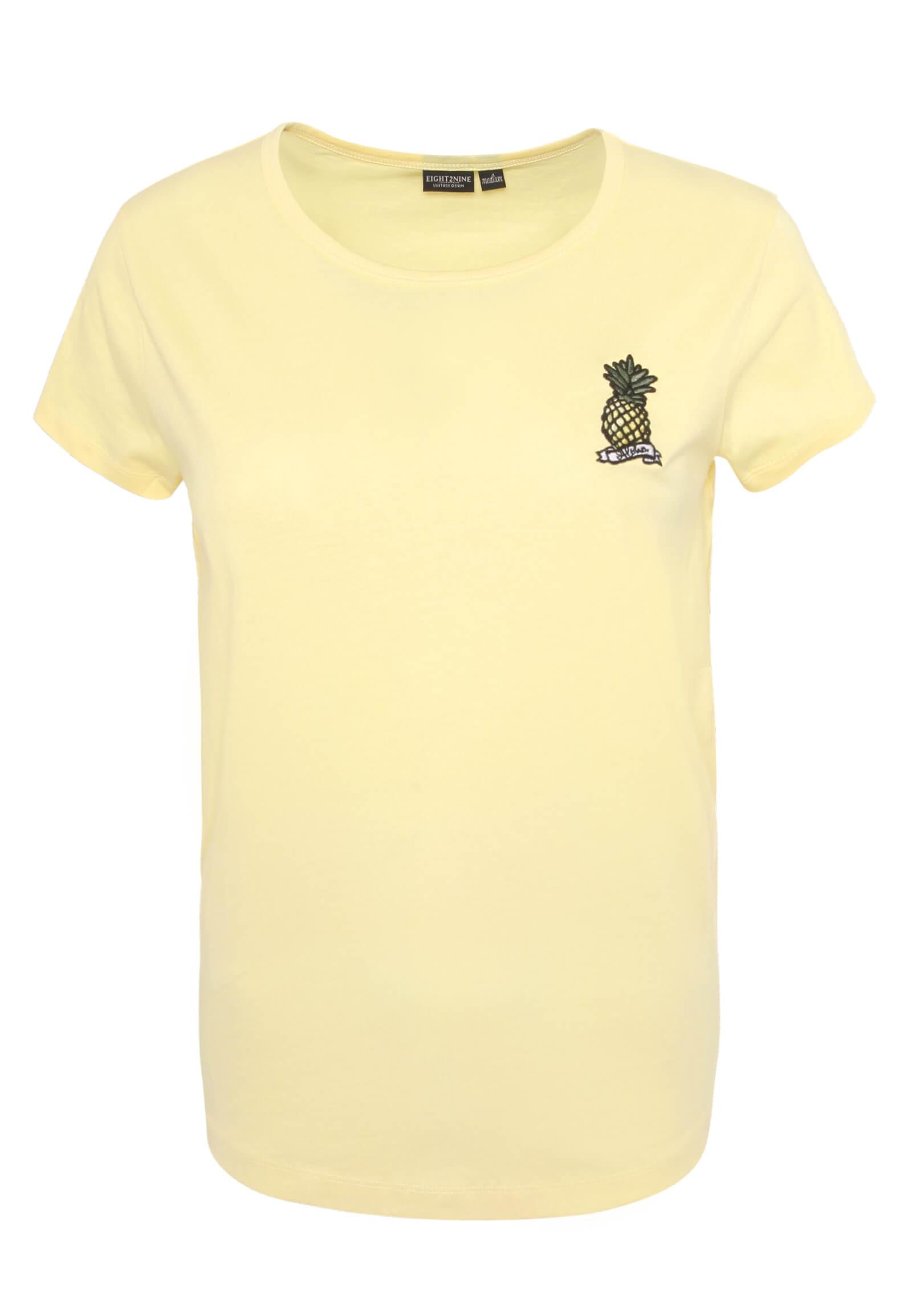 Gelbes T-Shirt mit Ananas Stickerei