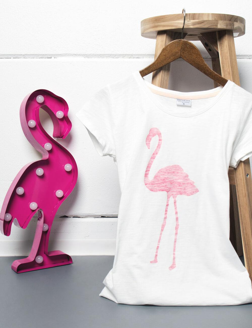 T-Shirt mit Flamingo Print