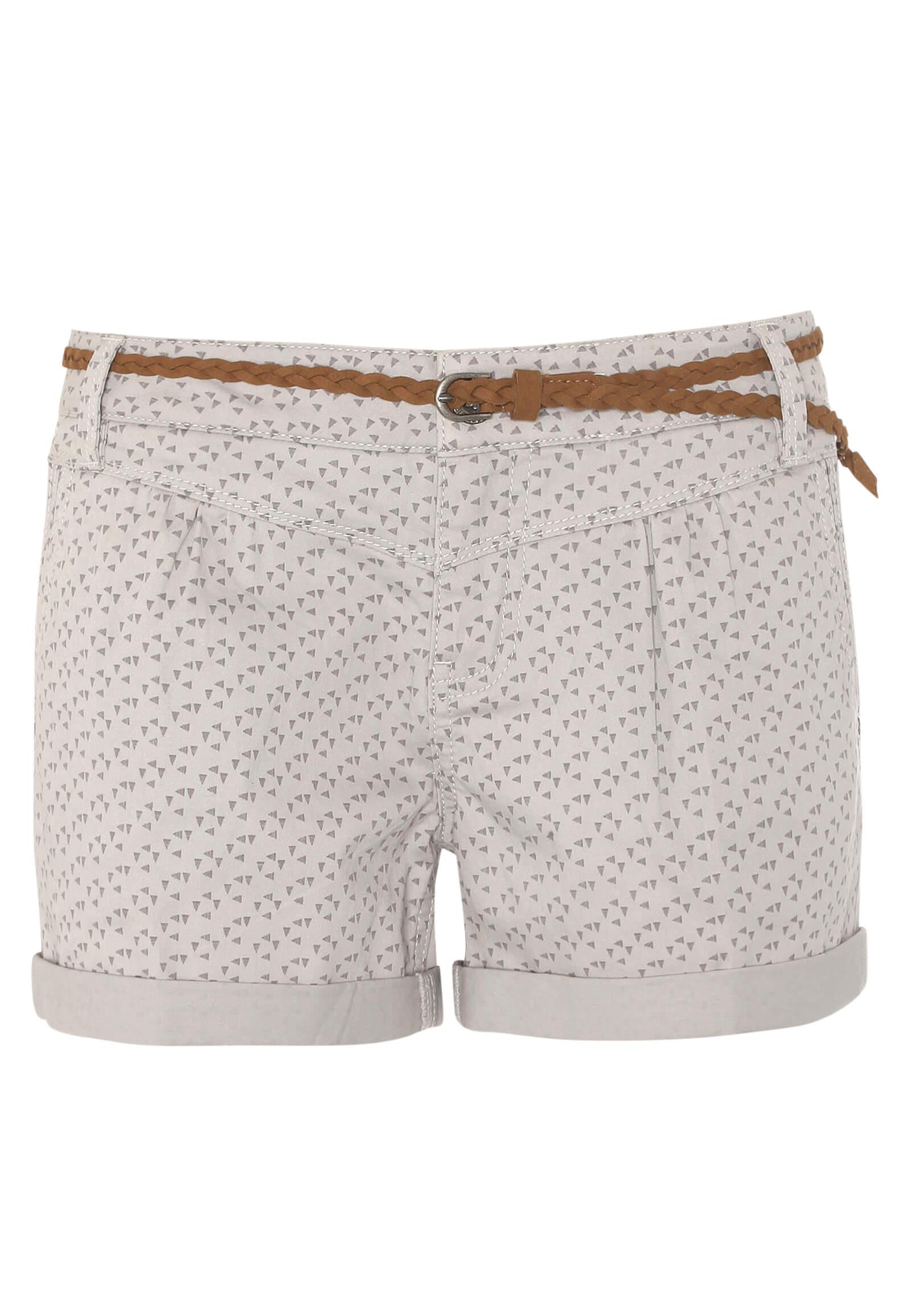 Gemusterte Shorts mit Flechtgürtel