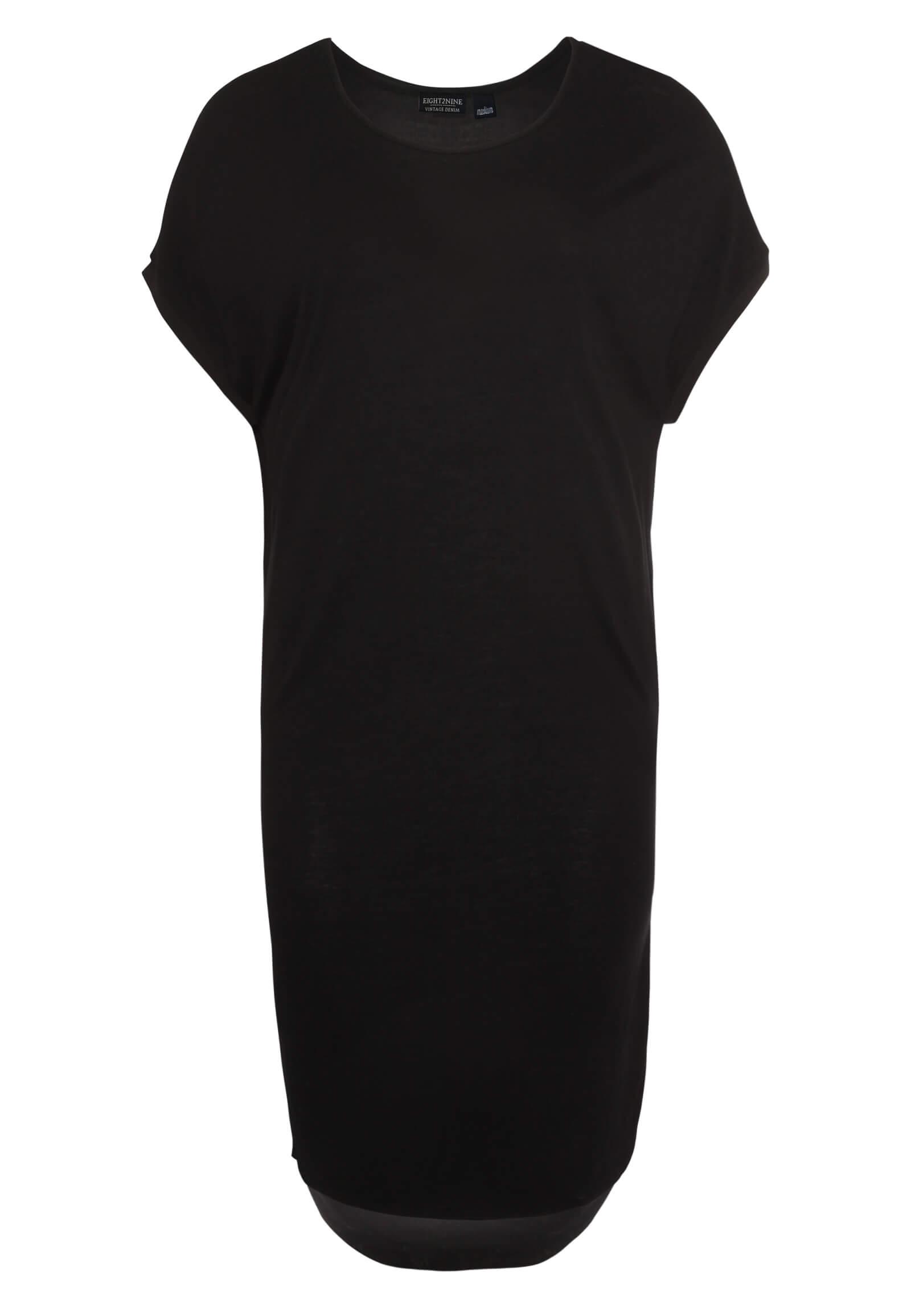 Schwarzes Kleid mit rundem Saum