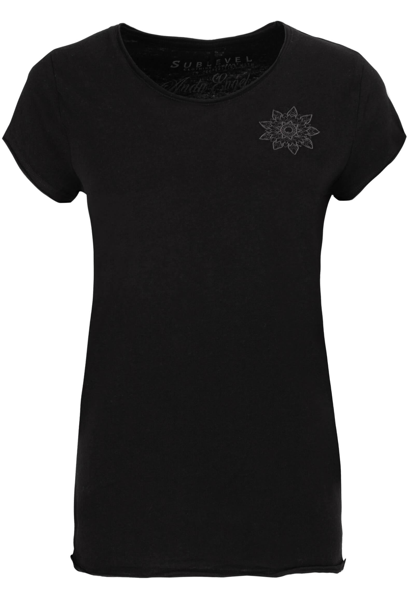 Schwarzes T-Shirt mit Stickerei