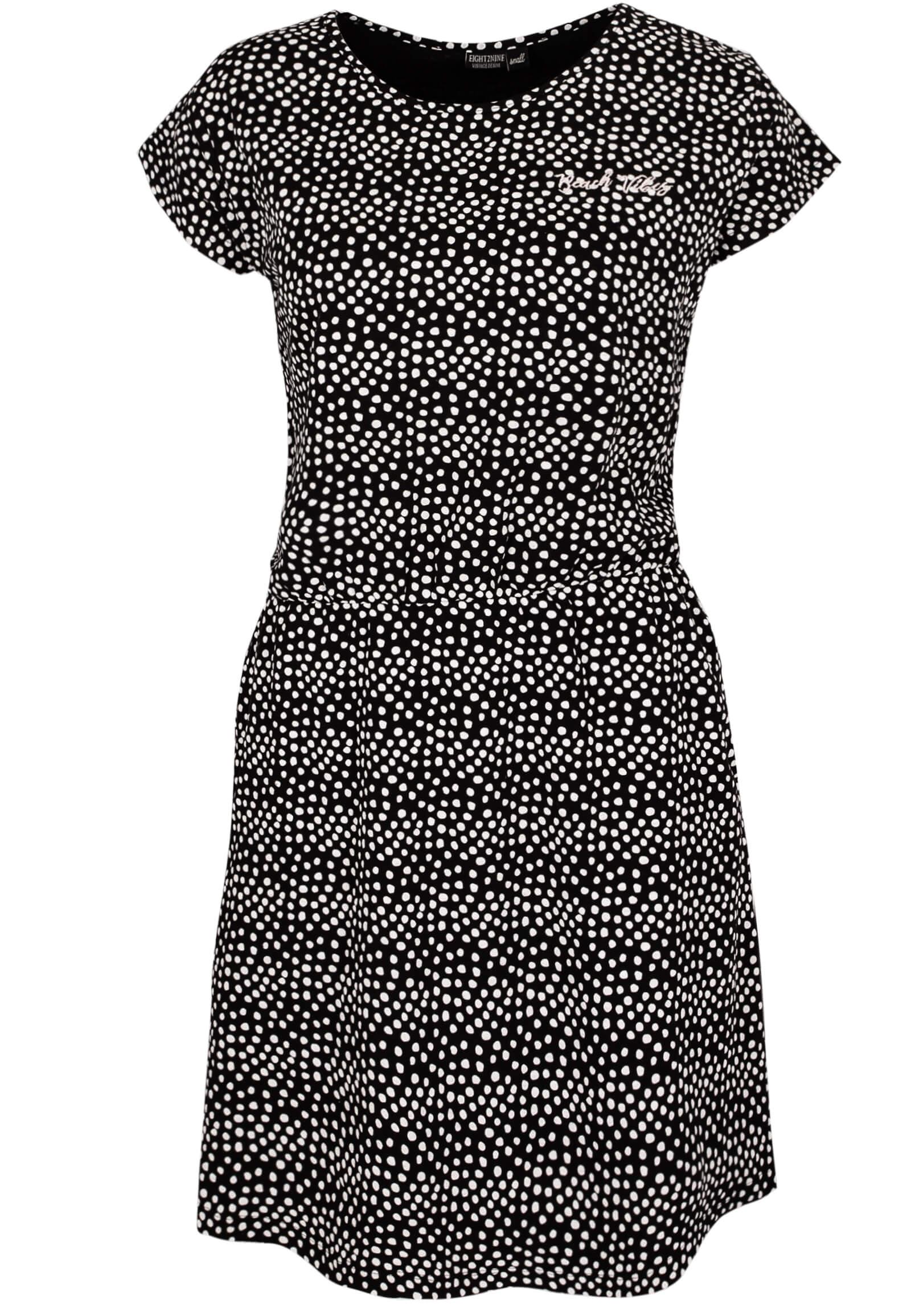 lockeres schwarz-weiß gepunktetes Kleid