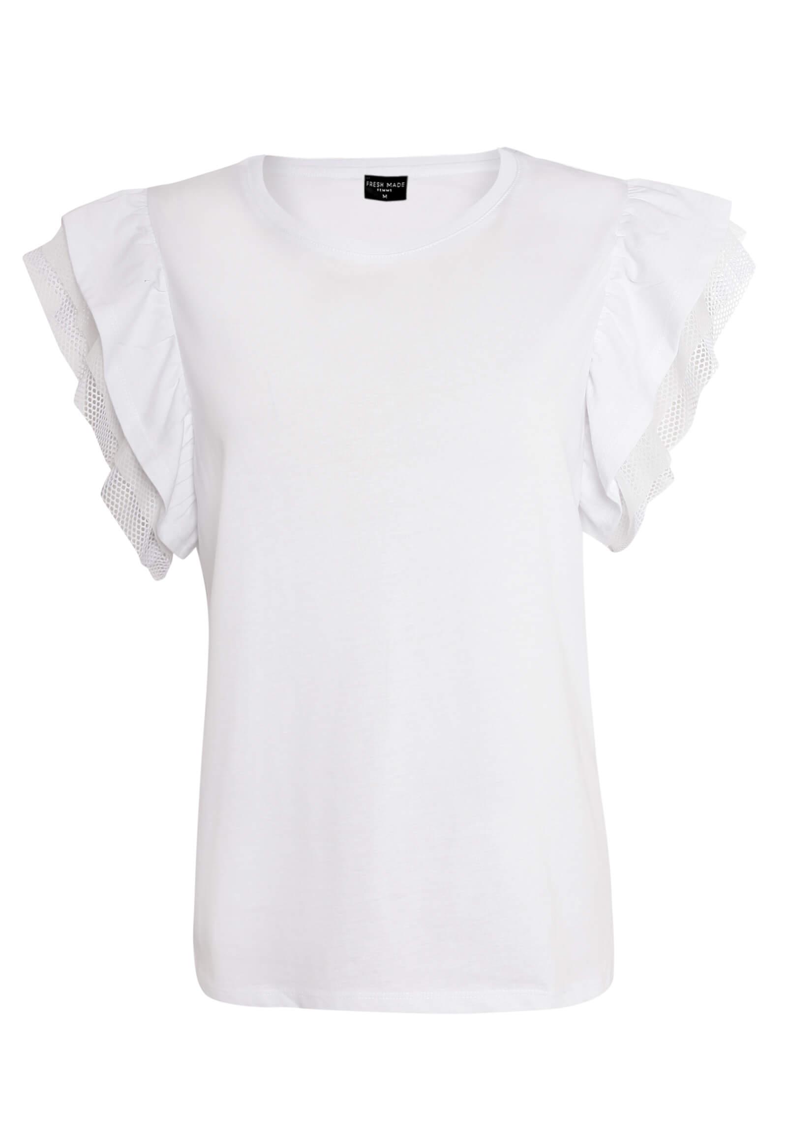 Weißes T-Shirt mit Volant-Ärmeln