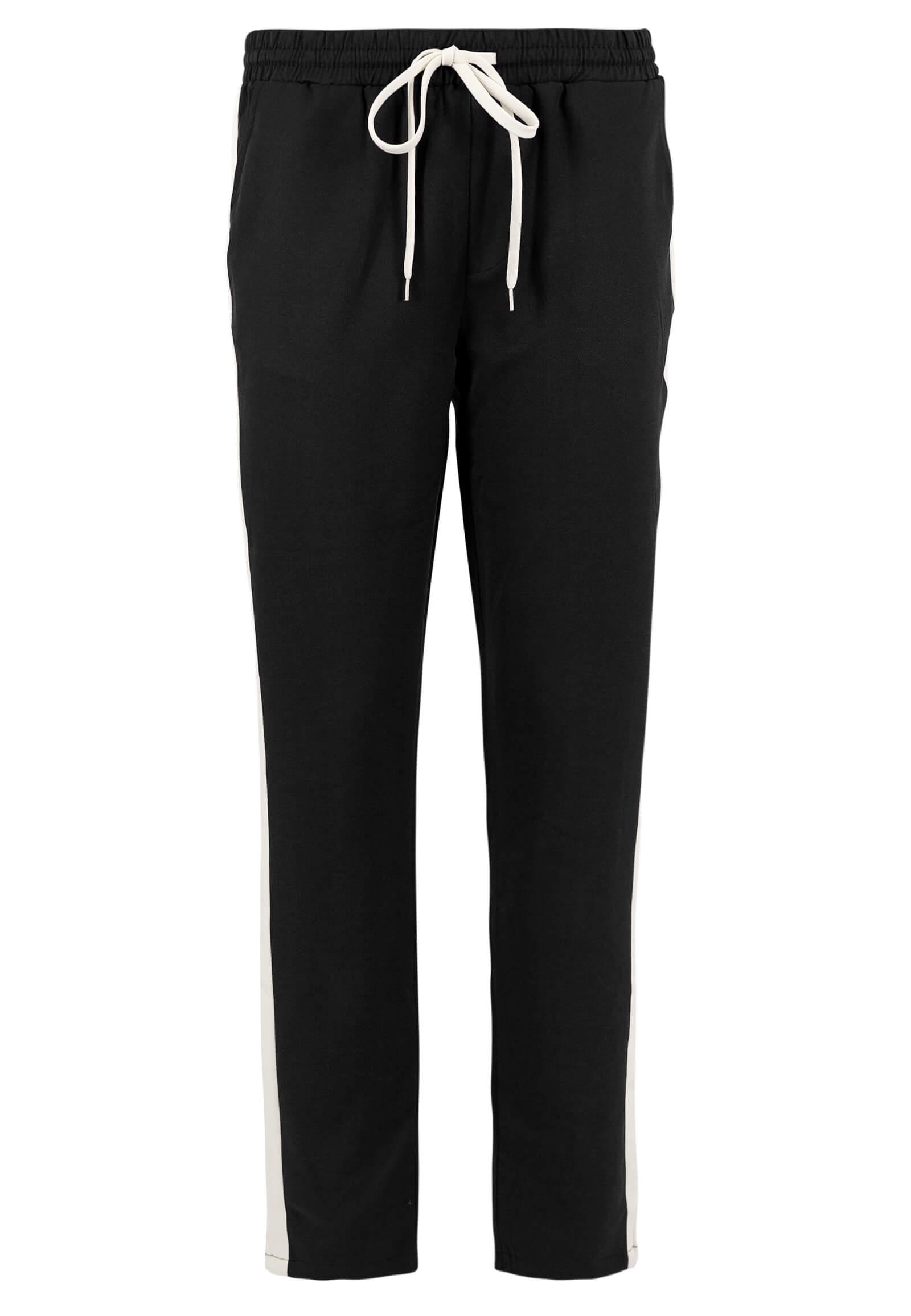 Schwarze Stoff-Hose mit Kontrast-Streifen
