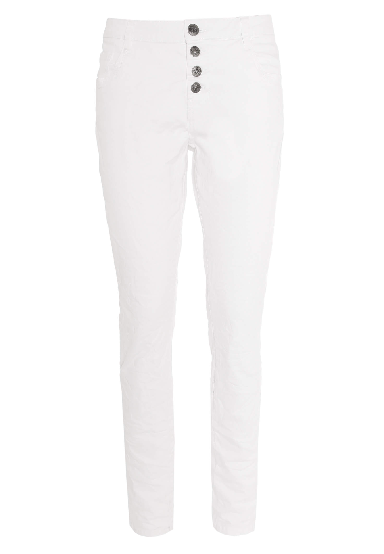 Weiße Twill-Hose mit Knopfleiste