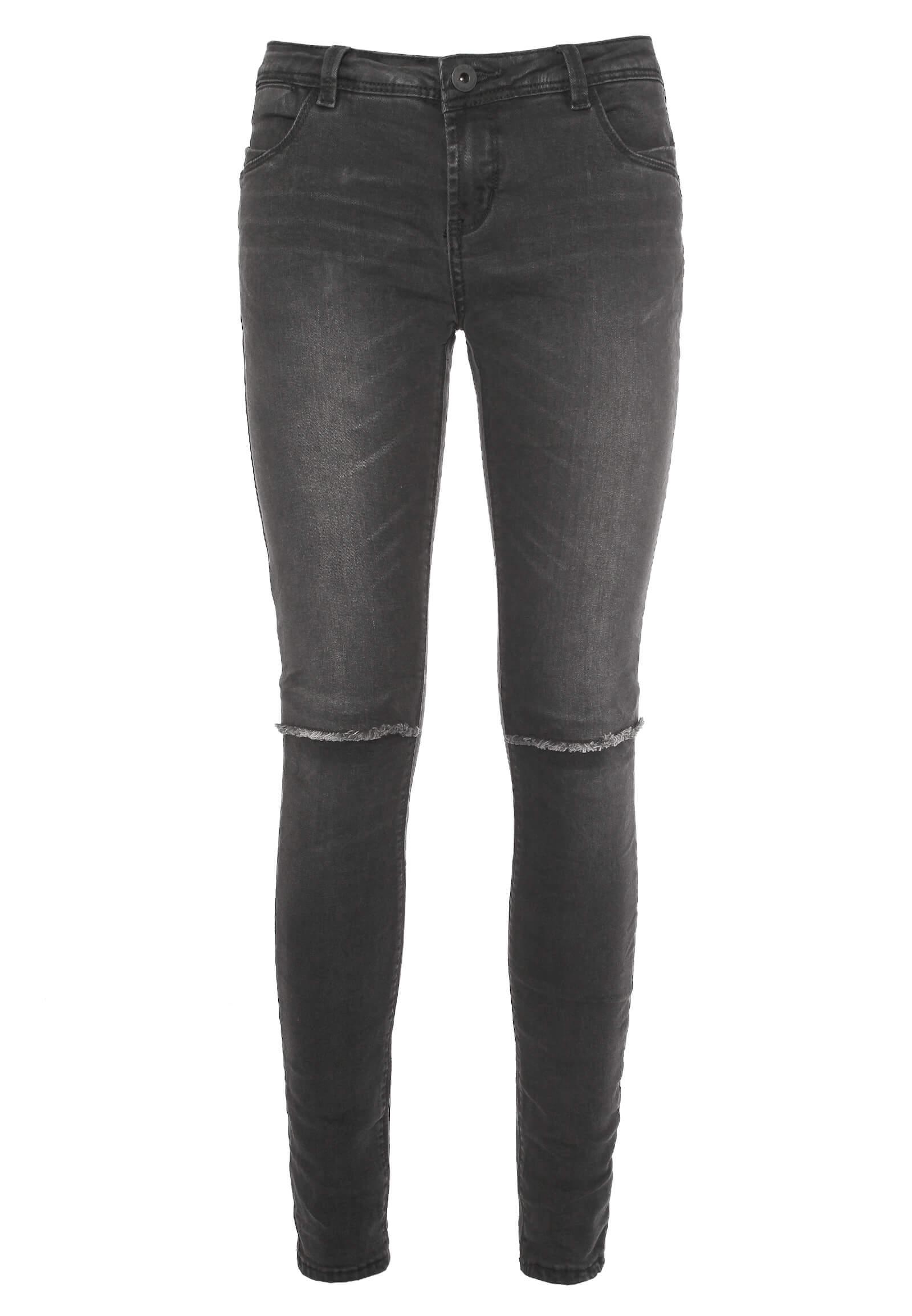 Dunkel-Graue Jeans mit Knie Schlitzen