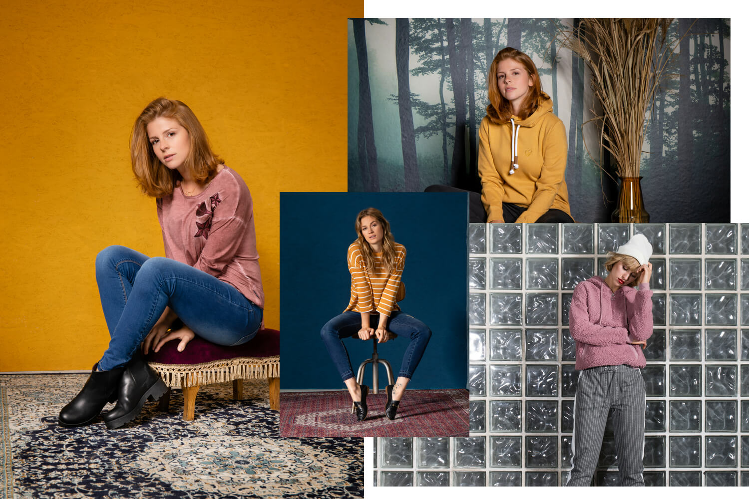 Damen Outfits in Curry und Berry