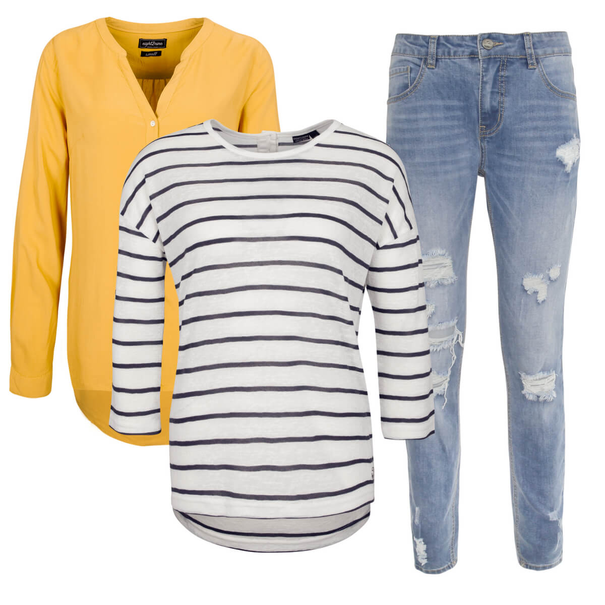 Outfit mit Bluse, Longsleeve und Jeans