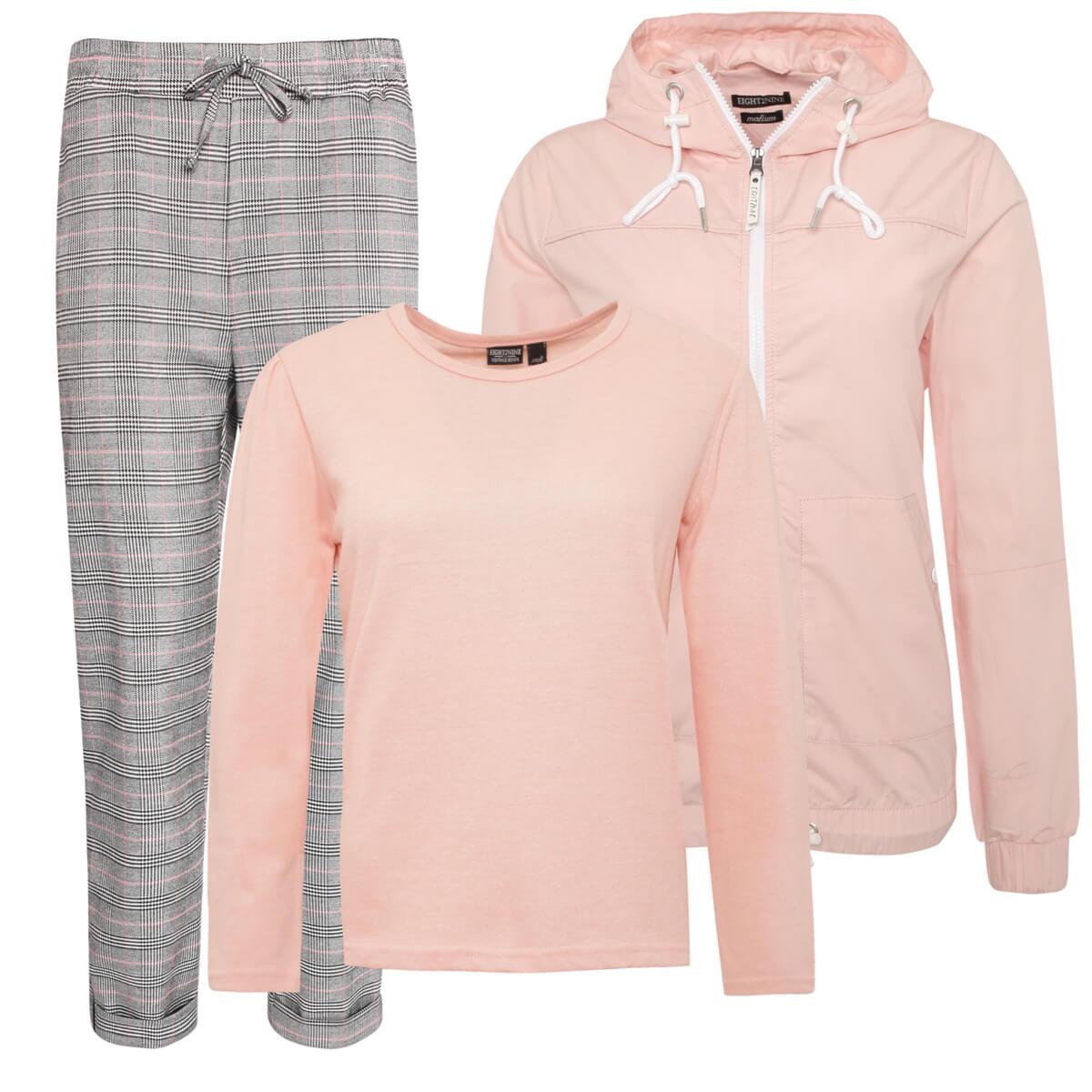 Outfit mit Karo-Hose und Rosa Oberteil