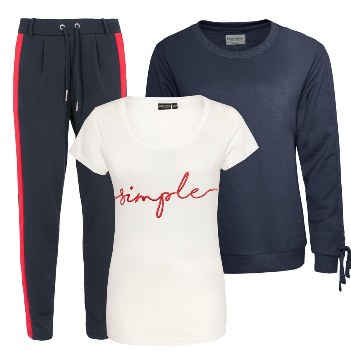 Look mit Jogg-Pants, Statement Shirt und Pulli
