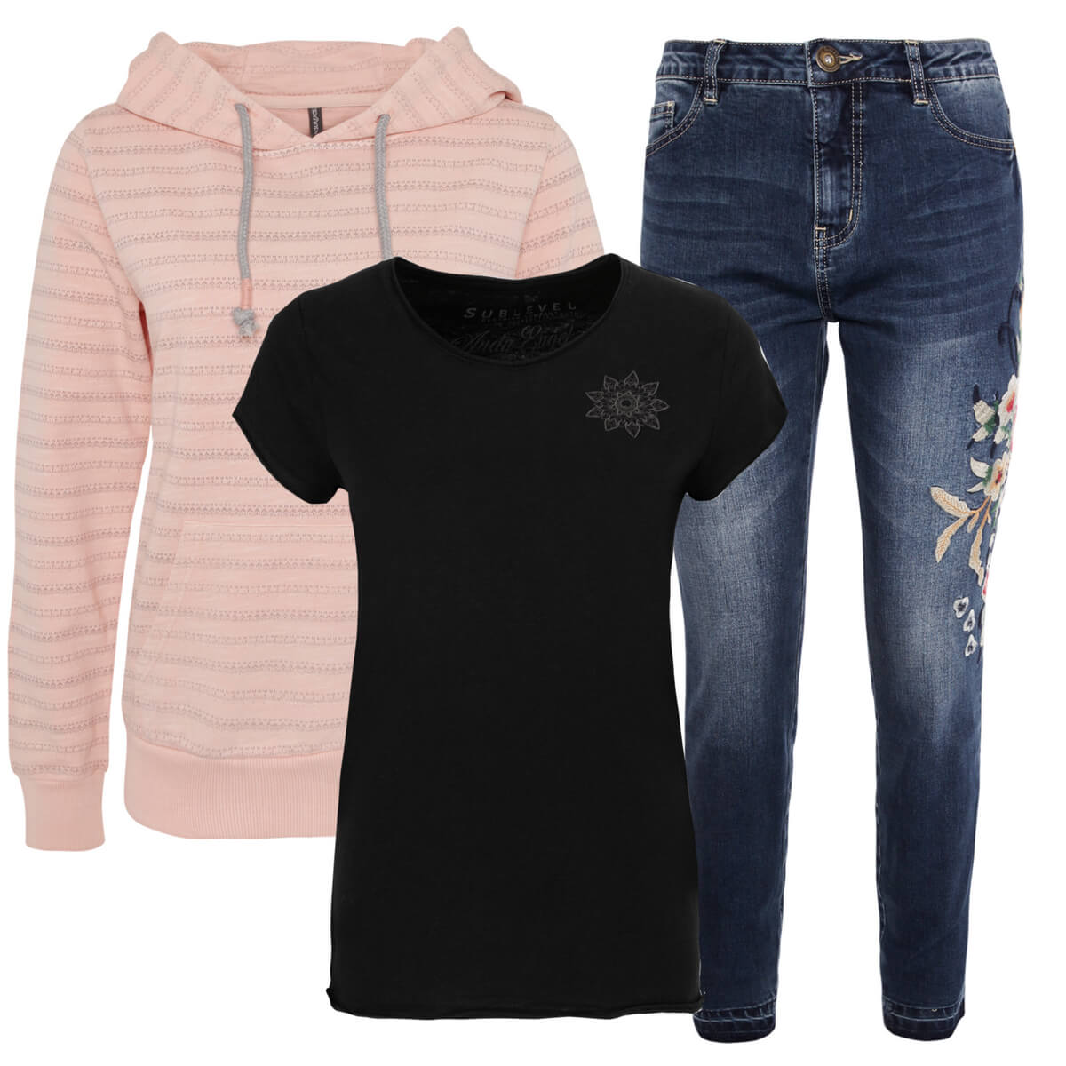 Outfit mit bestickter Jeans und rosa Pullover