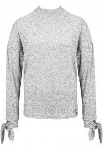 Hell-Grauer Pullover mit Knoten am Ärmel