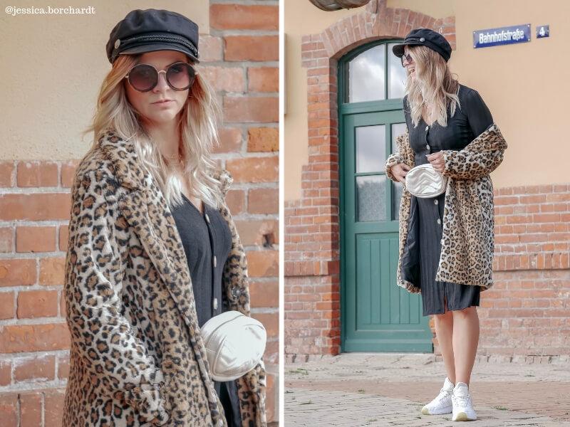 Blogger Look mit Kleid und Leo-Mantel