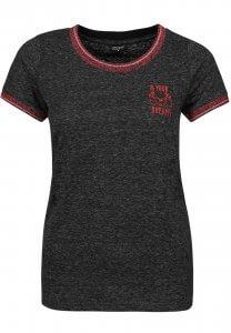 T-Shirt mit Glitzer-Rand in Dunkel-Grau