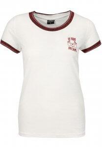 T-Shirt mit Glitzer-Rand in Weiß