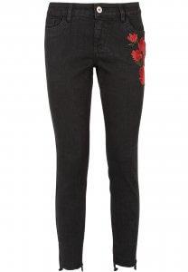 Schwarze Jeans mit Blumen Stickerei