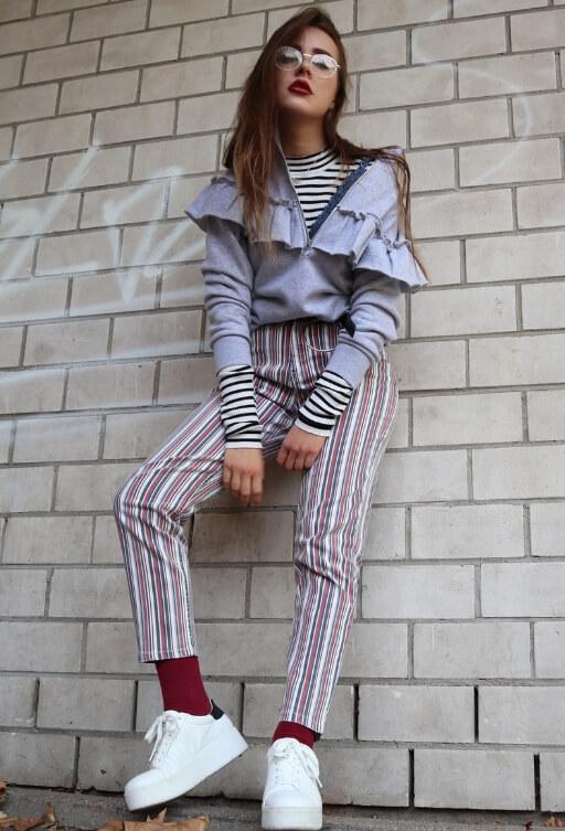 Grunge Outfit gestreift