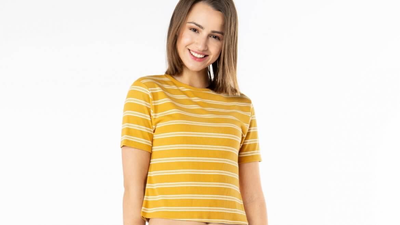 Gelb-Weiß gestreiftes T-Shirt