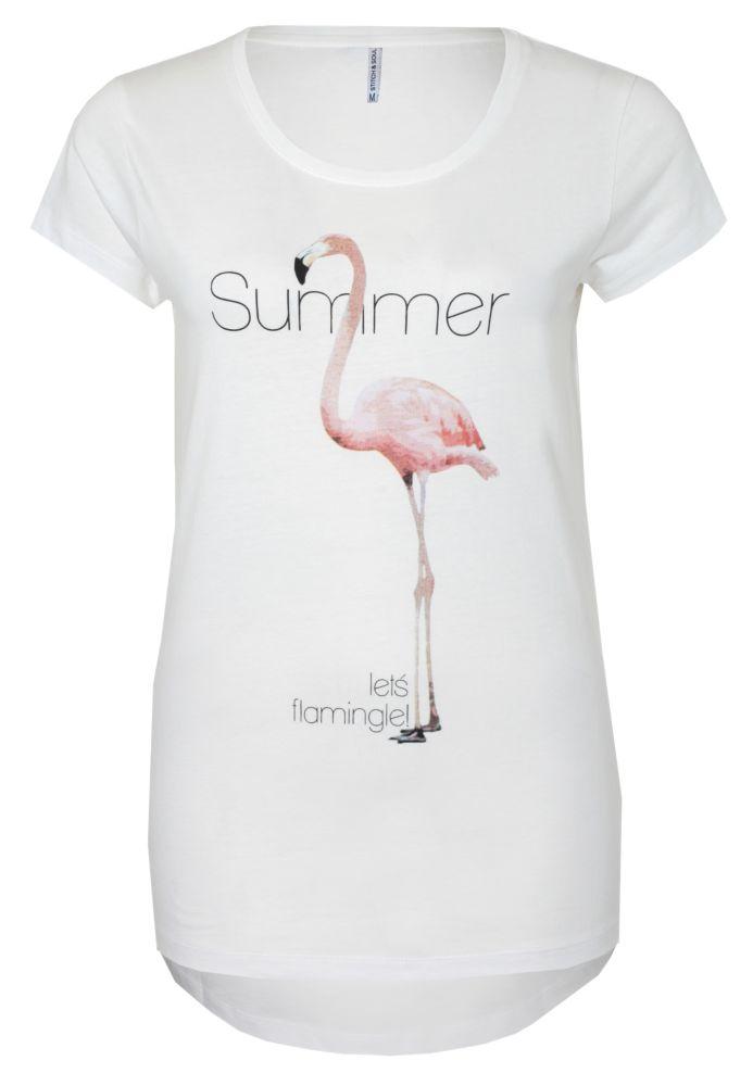 damen t shirt mit flamingo print g nstig fashion5. Black Bedroom Furniture Sets. Home Design Ideas