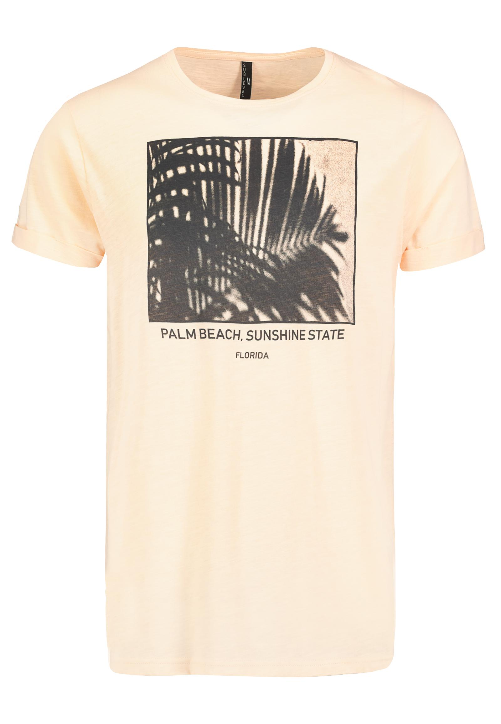 sublevel - T-Shirt mit Palmenmotiv